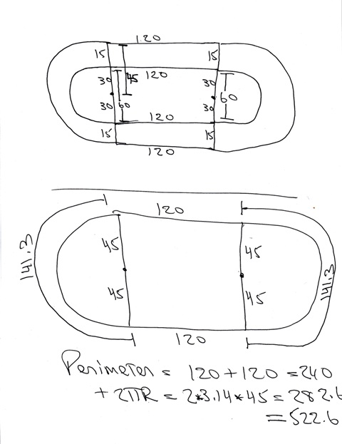 how to find the perimeter of a three quarter circle