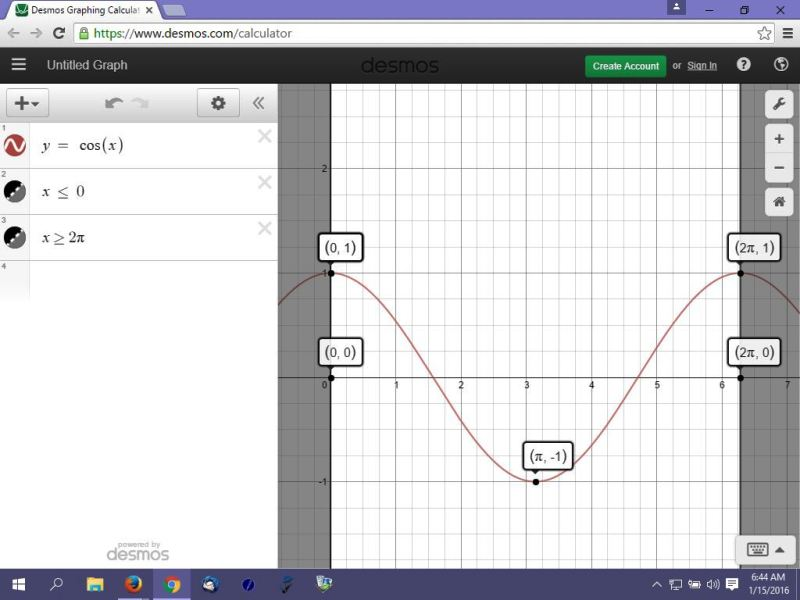 how to get desmos axis in radians