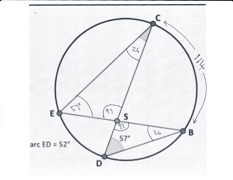 Solution can someone help me find the measure of the angles of this you can see from the diagram that angle c and angle b are both equal to 26 degrees ccuart Images