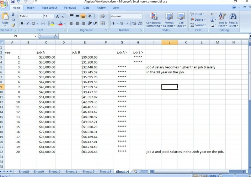 35d7fcb50 the following excel spreadsheet shows the salaries based on the number of  years on the job.
